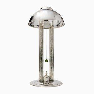 Lámpara de mesa de latón plateado, años 20