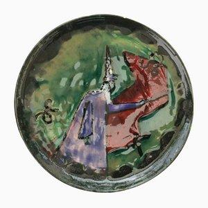 Assiette Décorative en Faïence par Yvonne Pichard, 1951