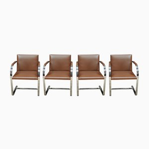 Brno Flat-Bar Chairs by Mies van der Rohe for Knoll, 1960s, Set of 4