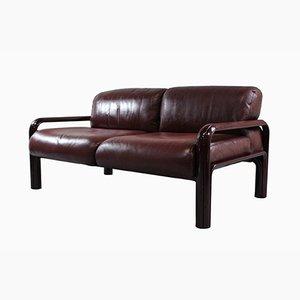 Sofá de dos plazas de cuero de Gae Aulenti para Knoll, años 70