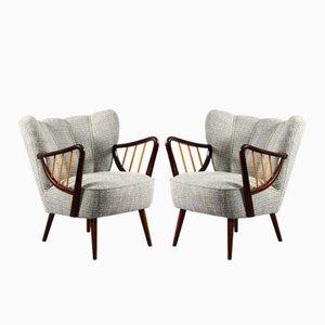 Vintage Beech & Grey Fabric Armchairs, Set of 2