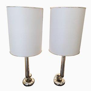 Tischlampen aus verchromtem Eisen, 1970er, 2er Set