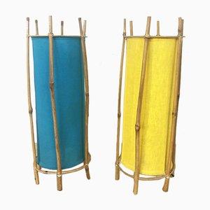 Lámparas de mesa en forma de tubo de ratán, años 70. Juego de 2
