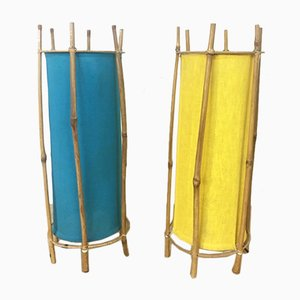 Tube Table Lamps in Rattan, 1970s, Set of 2