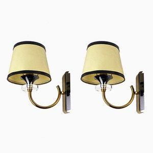 Plexiglas & Metal Wall Lights, 1960s, Set of 2