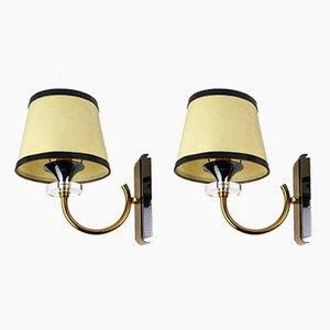 Plexiglas & Metall Wandlampen, 1960er, 2er Set