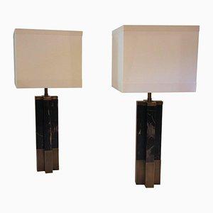 Lámparas de mesa de mármol y latón, años 70. Juego de 2