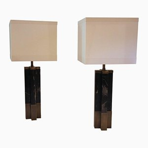 Marble & Brass Table Lamps, 1970s, Set of 2