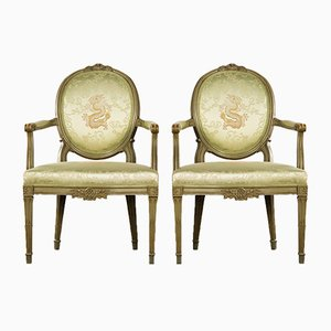 Antique Gustavian Silk Armchairs, Set of 2