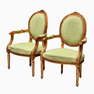 Antique Swedish Bronzed Armchairs, Set of 2
