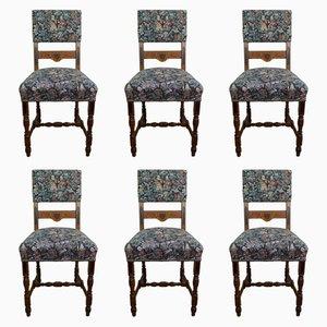 Antike deutsche Esszimmerstühle aus Eichenholz, 6er Set