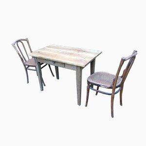 Tavolo e 2 sedie da bistrò antichi di Jacob & Josef Kohn