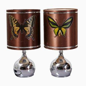 Lámparas de mesa con motivo de mariposa, años 70. Juego de 2
