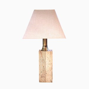 Travertine & Golden Brass Table Lamp by Fratelli Mannelli, 1970s