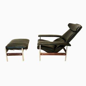 Poltrona Mid-Century reclinabile con poggiapiedi di Sven Ivar Dysthe per Dokka Møbler