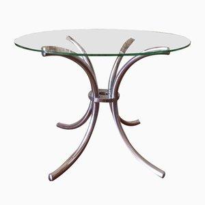 Tavolino vintage cromato con ripiano in vetro, anni '70