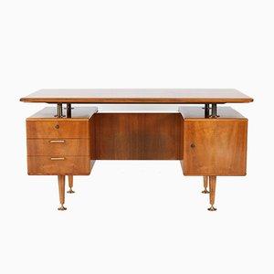 Mid-Century Nussholz Schreibtisch mit schwebender Platte von A.A. Patijn für Poly-Z, 1960er