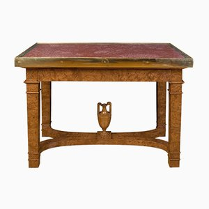 Antique Russian Elm Root, Porphyry, & Bronze Table