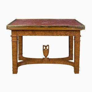 Tavolo antico in radica di olmo, porfido e bronzo, Russia
