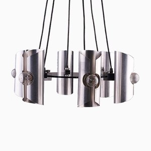 Geometric Chrome Pendant with Six Shades, 1970s