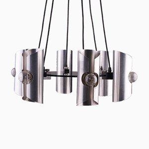 Lampada a sospensione geometrica cromata con sei paralumi, anni '70