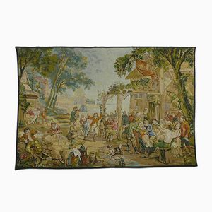 Antique Flemish Kermesse Tapestry by David Teniers for Ateliers de la Tapisserie Francaise