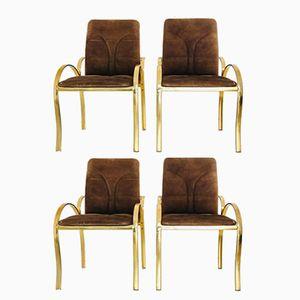 Italian Brass & Velvet Chairs, 1970s, Set of 4