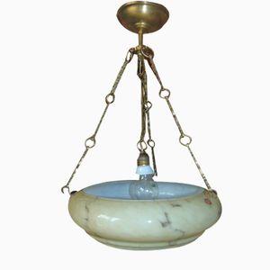 Lampada a sospensione Art Deco in ottone e vetro