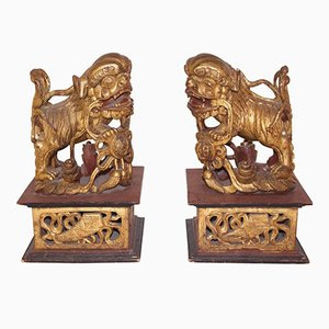 Antique Chinese Dogs of Fô Sculptures, 1880s, Set of 2
