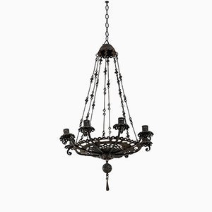 Antique Iron Chandelier by Alessandro Mazzucotelli, 1900s