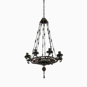 Lámpara de araña antigua de hierro de Alessandro Mazzucotelli, década de 1900