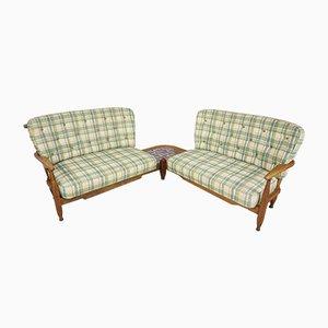 Solid Oak Corner Sofa Set with Side Table by Guillerme et Chambron for Votre Maison, 1950s