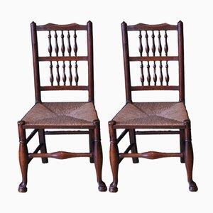 Georgianische Stühle aus Eiche & Ulmenholz mit Speichenlehnen & Binsengeflechtsitzen, 2er Set