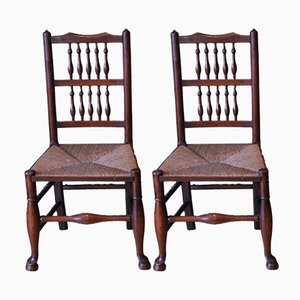 Victorian Beech & Elm Spindleback Chairs with Rush Seats, Set of 2