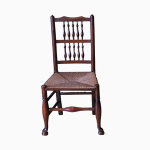 Antique Georgian Oak & Elm Spindleback Chair with Rush Seat