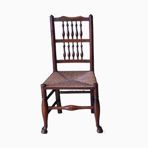 Georgianischer Stuhl aus Eiche & Ulmenholz mit Speichenlehnen & Binsengeflechtsitzen