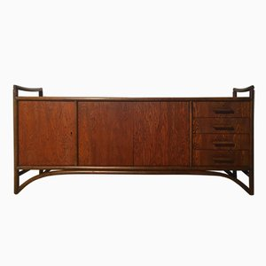 Japanese Bamboo & Brushed Oak Sideboard, 1970s