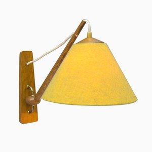 Lámpara de pared escandinava de madera, años 50