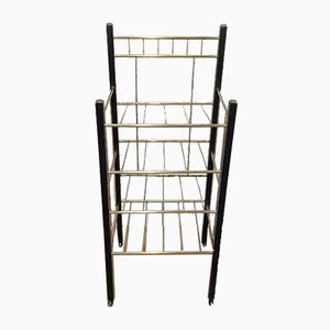 Antique Brass and Ebonized Wood Rack
