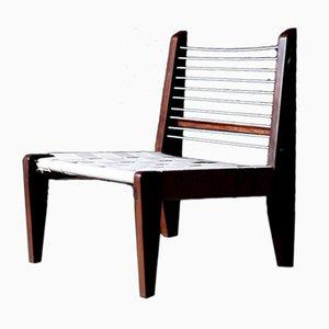 Sedia in corda di cotone di Pierre Jeanneret, anni '50
