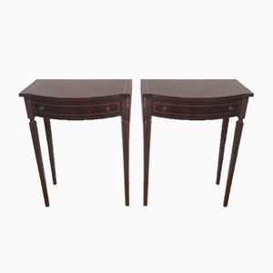Mahogany Drawer Side Tables, 1920s, Set of 2