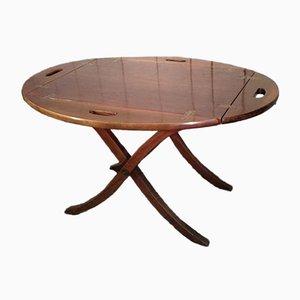 Tavolo pieghevole vintage in mogano
