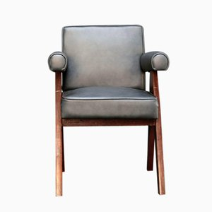 Committee Chair in Black Leather by Pierre Jeanneret, 1950s