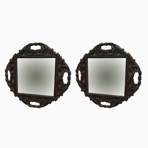 Antique Carved Wood Mirrors, Set of 2