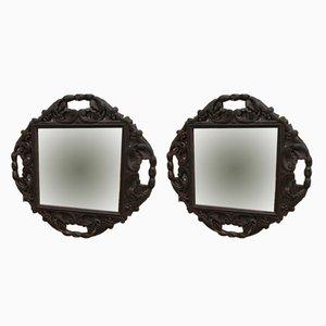 Espejos antiguos de madera tallada. Juego de 2