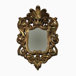 Espejo italiano de madera dorada, años 20