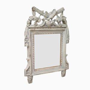 Kleiner antiker Louis XVI Spiegel mit lackiertem Holzrahmen