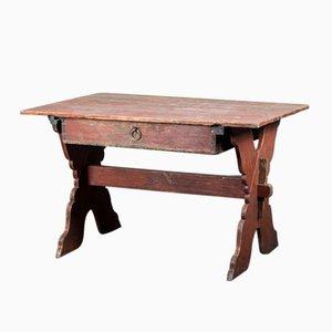 Antiker schwedischer Schreibtisch mit gekreuzten Beinen und Schublade