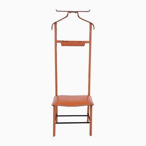 Galán de noche de hierro y cuero sintético en naranja de Jacques Adnet para Hermès, años 60