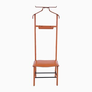 Orange Faux Leather and Iron Valet by Jacques Adnet for Hermès, 1960s